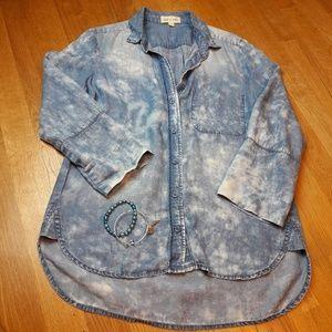 Cloth & Stone Acid Wash Denim Button down shirt